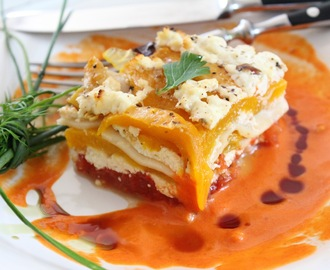 lazania z pieczonymi pomidorami i papryką - lasagna with roasted peppers and tomatoes