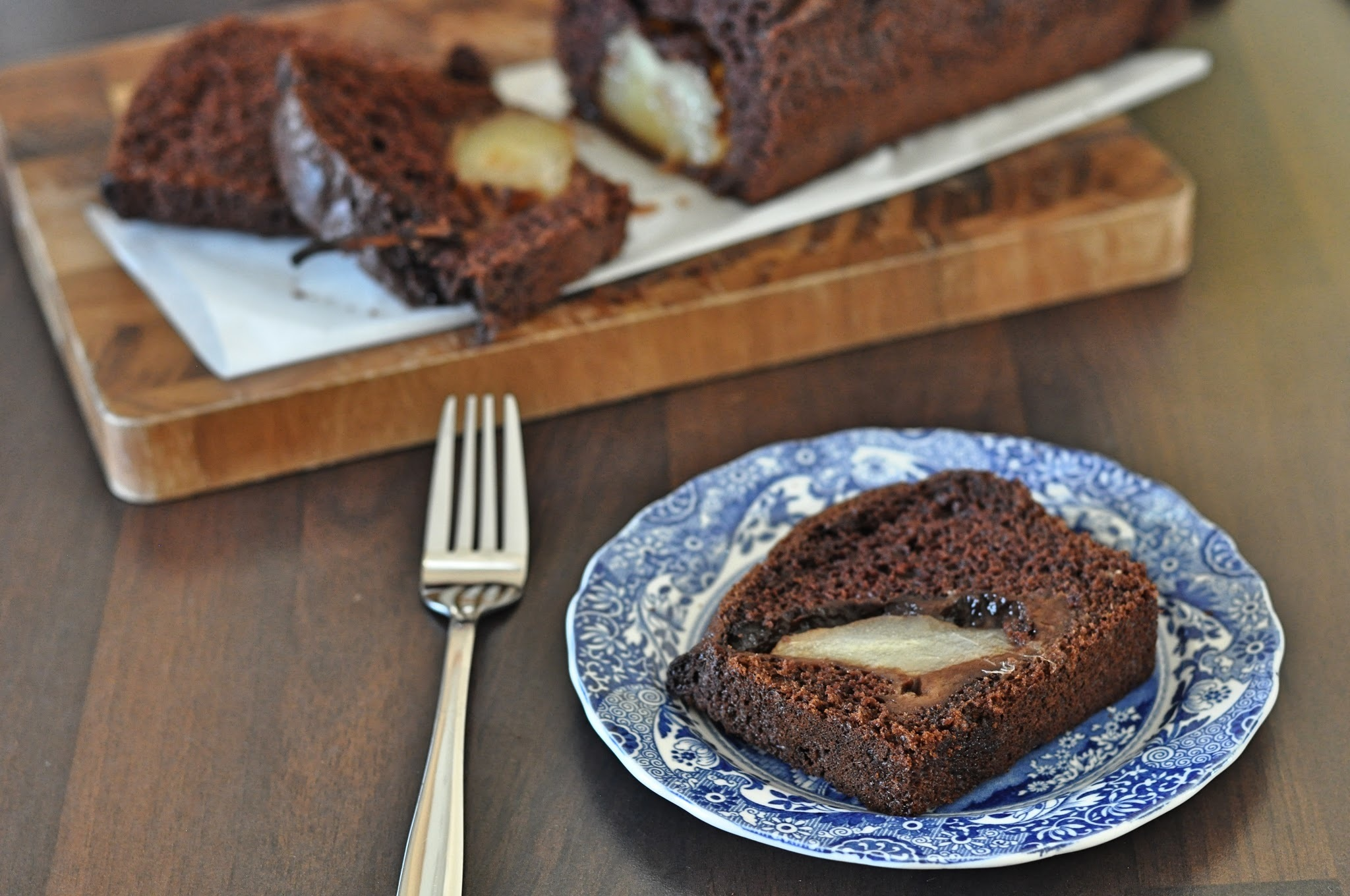 Chocolate, Cinnamon and Pear Loaf Cake