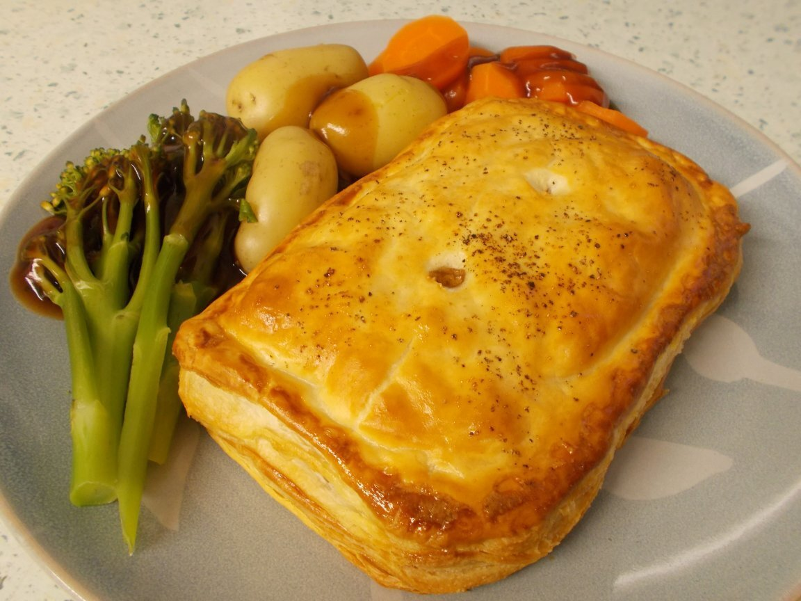 Chicken, mushroom & black garlic puff pastry slices - it's British Pie Week!