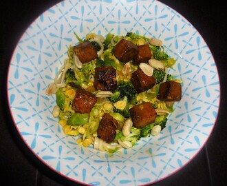 Brussel Sprout,Tofu and Udon Noodle Salad with a Miso Dressing Recipe