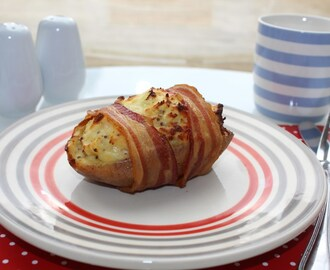 Brunch Filled Potato Skins Wrapped in Bacon