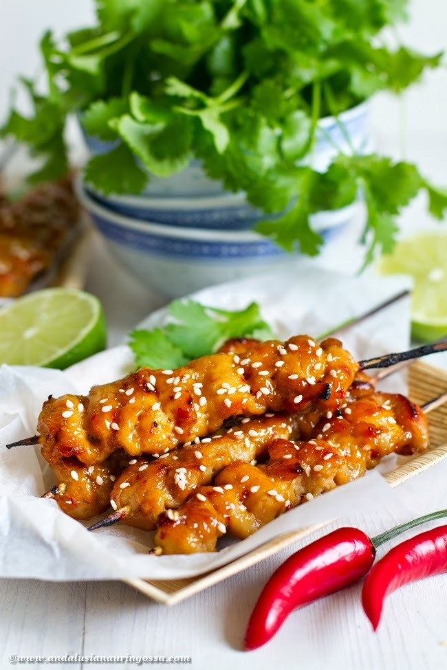 Asian apricot and ginger glazed chicken skewers
