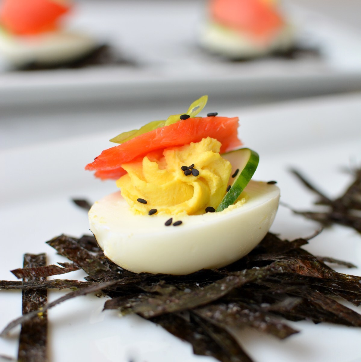 Salmon and Wasabi Deviled Eggs