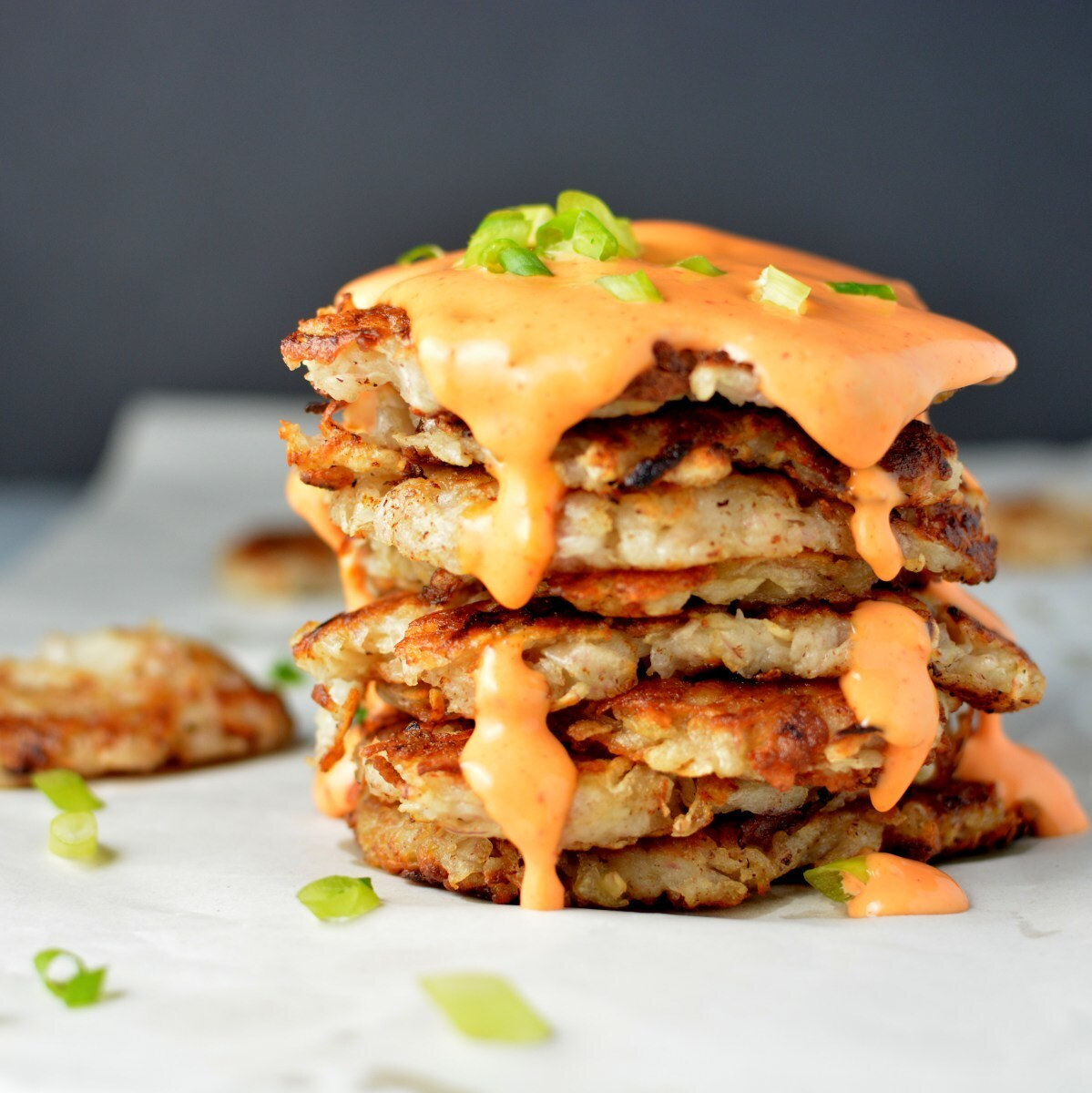 Taro Latkes with Sriracha Lime Cream Sauce