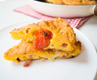 Cornbread with Goat Cheese, Bacon and Cherry Tomatoes