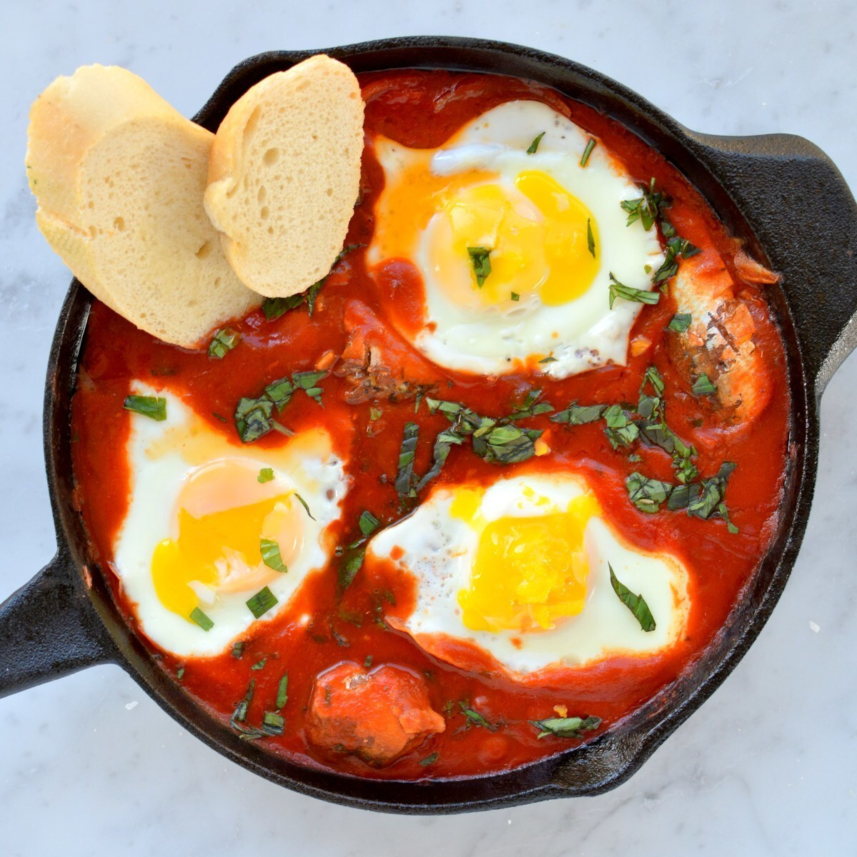 Sriracha Eggs in Purgatory with Sardines