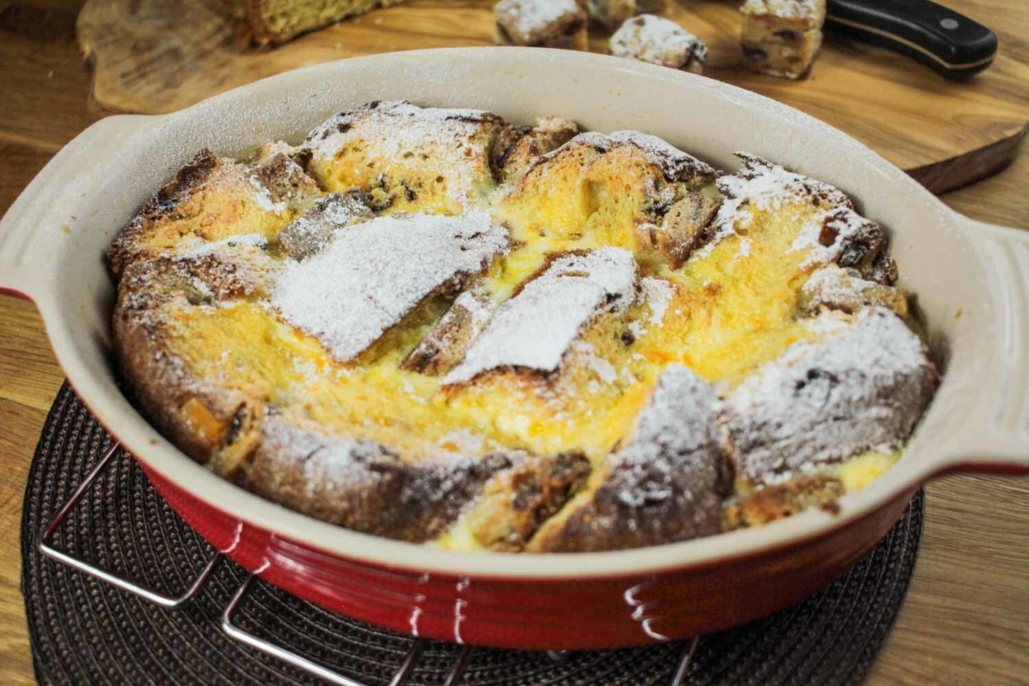 Panettone and Stollen Bread and Butter Pudding