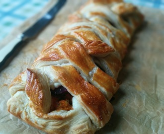 Sweet potato, beetroot, goats cheese puff pastry plait