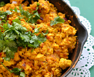 Paneer Bhurji – Scrambled Indian cottage cheese side with onion, tomato and exotic spices