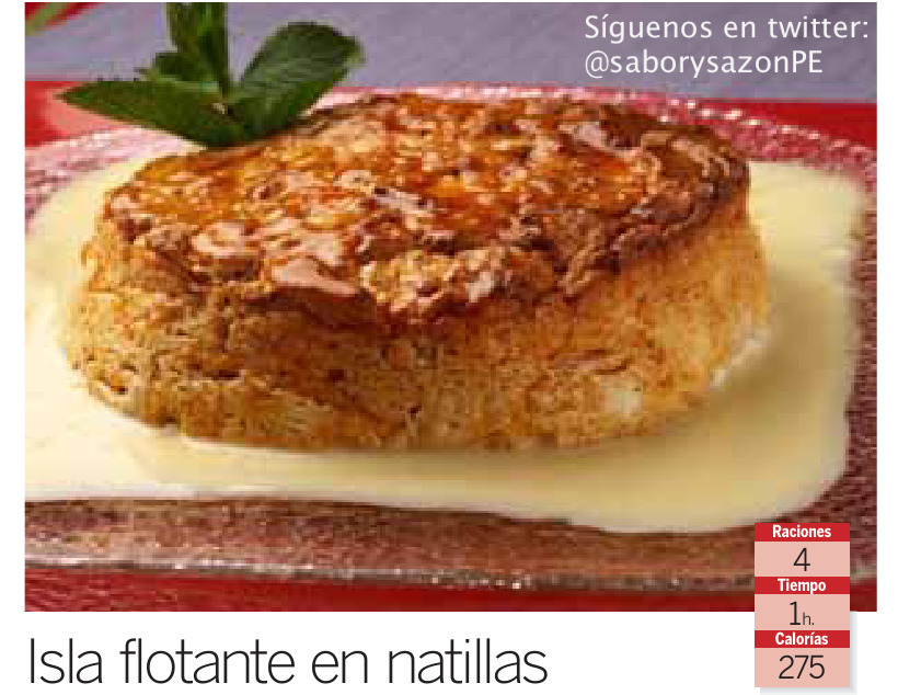 Postre : Isla flotante en natillas - Receta - Recipes