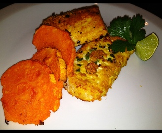 Healthy Fish & Chips -- Baked Fish & Sweet Potato Chips