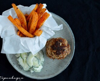 Danish cooking: Spicy frikadeller with sweet potato fries