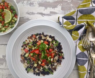 Persian-Style Vegetarian Rice with Lentils, Raisins & Chopped Salad
