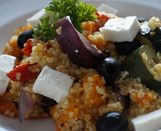 Roasted Mediterranean Vegetables with Bulgar Wheat & Feta