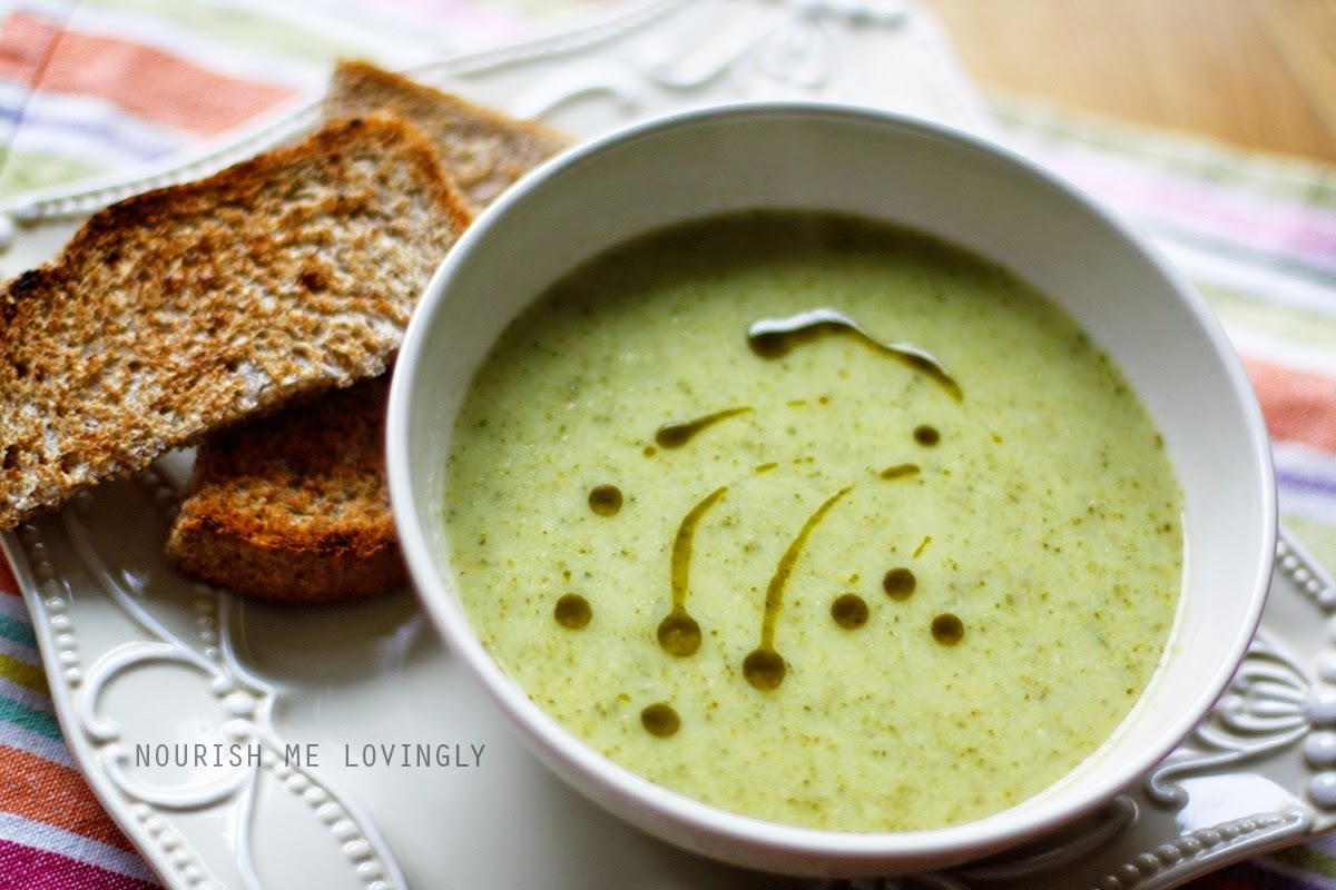 Creamy courgette and broccoli soup (GF, V+)
