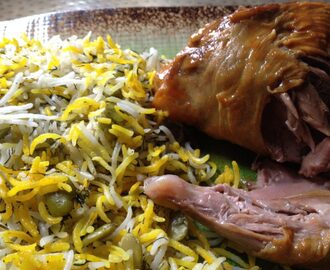Persian Broad Beans & Dill Rice with Braised Lamb Shanks