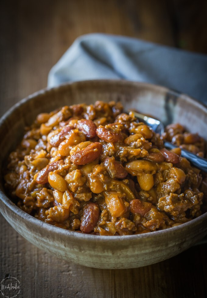Best BBQ Baked Beans with Beef {Cowboy Beans}