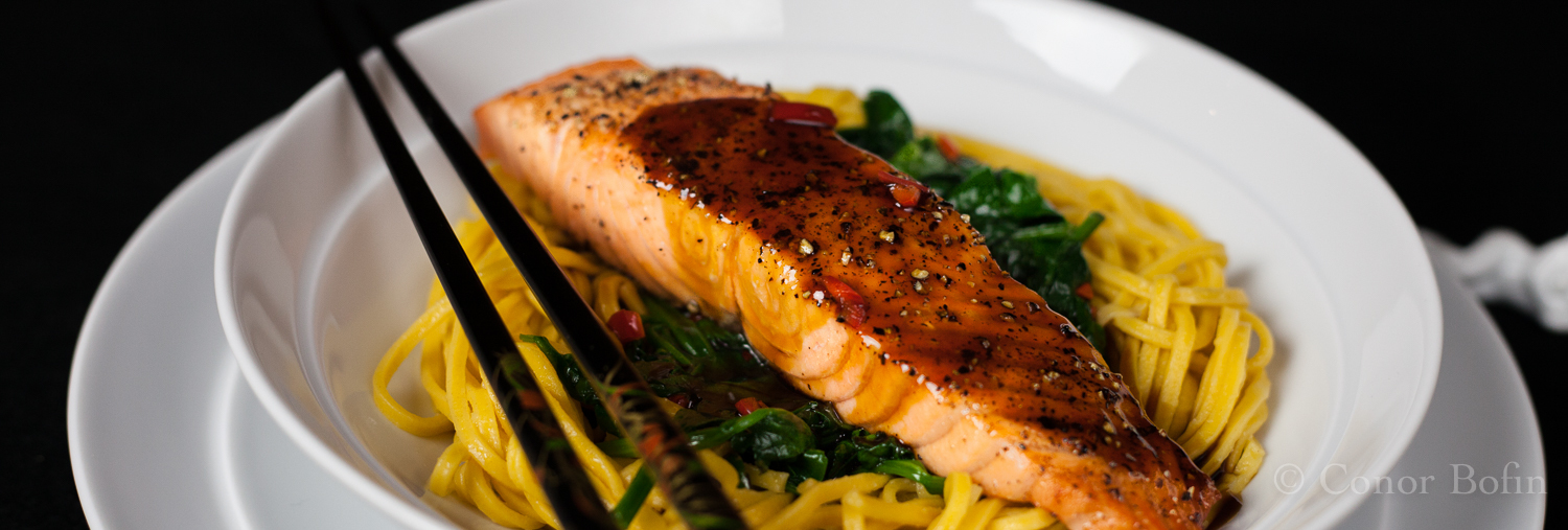 Salmon with Homemade Teriyaki Sauce, Spinach and Noodles – Fine Dining at Home!
