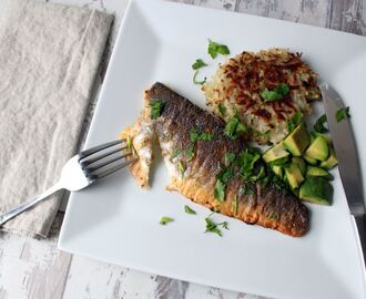 Crispy sea bass and potato rosti recipe