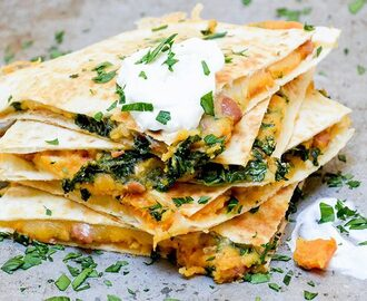 Sweet Potato, Pinto Bean and Kale Quesadillas