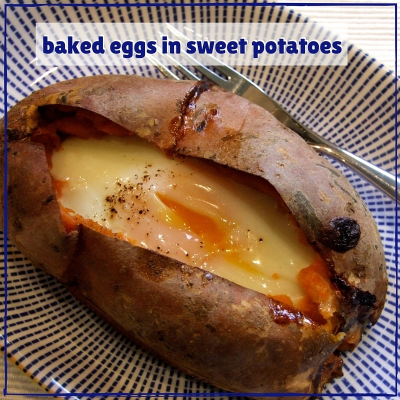 Baked eggs in sweet potatoes
