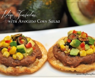 Mini Tostadas with Avocado Corn Salsa