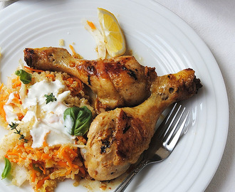 Yoghurt-Roasted Chicken with Quinoa, Carrot and Fennel Slaw
