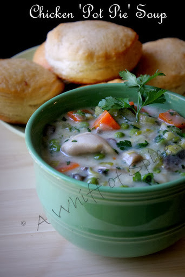 Combating the Arctic Cold Wave with piping hot Chicken 'Pot Pie' Soup