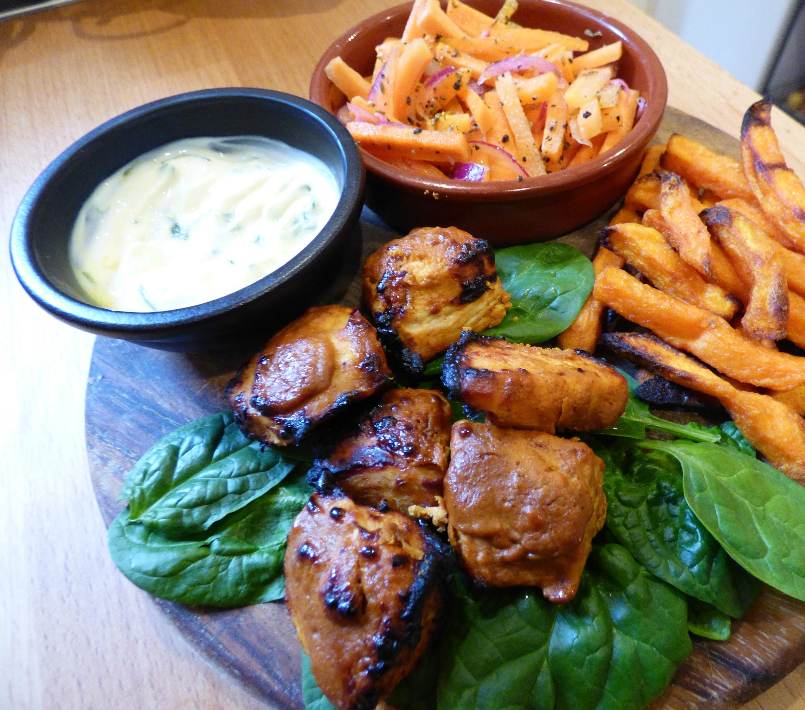 Slimming World syn free Chicken Tikka Bites and Indian Carrot Salad