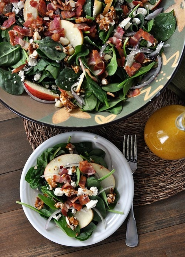 Spinach Salad with Sweet-Spicy Nuts, Apples, Feta and Bacon {My Most Favorite Salad Ever}