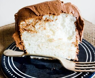 Vanilla Angel Food Cake with Malted Chocolate Cloud Frosting #FoodieExtravaganza