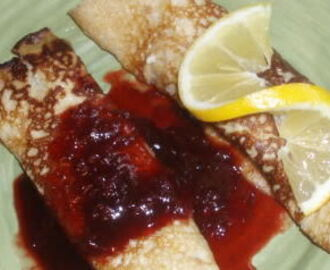 Lemon Pancakes with Strawberry Balsamic Syrup