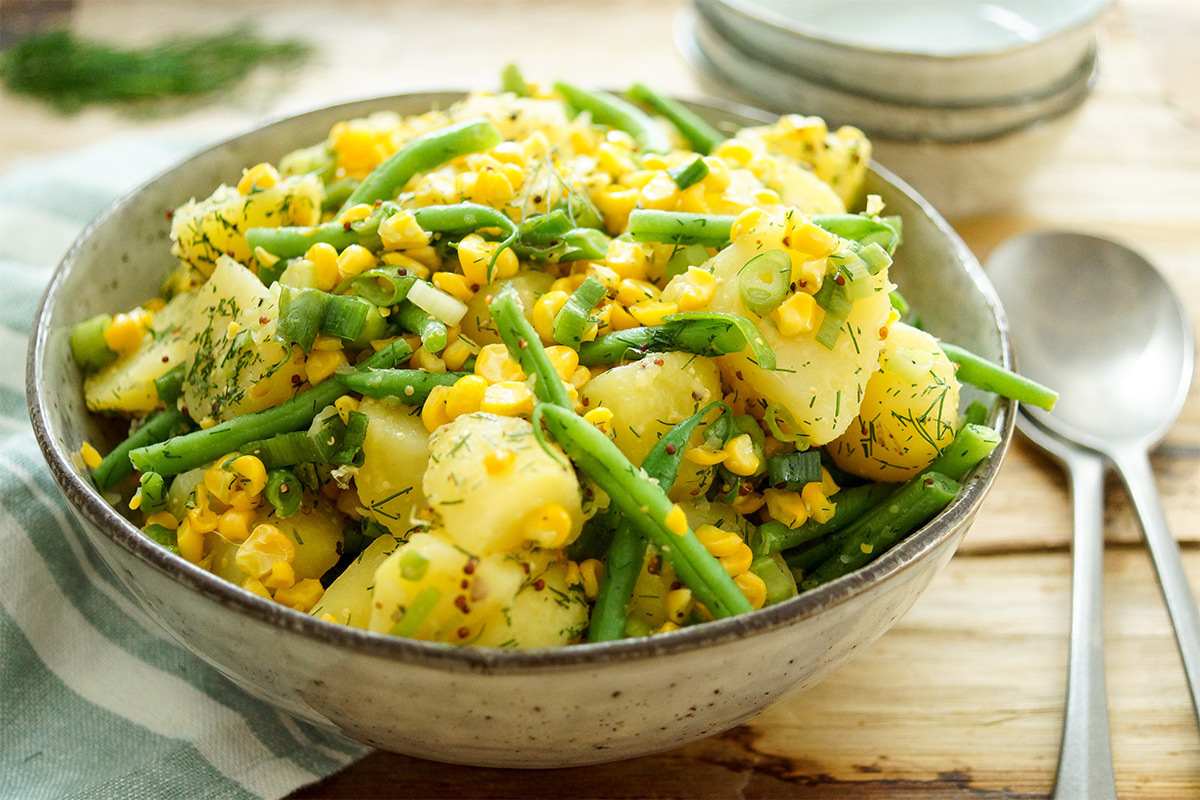 Roasted Corn and Potato Salad with Green Beans