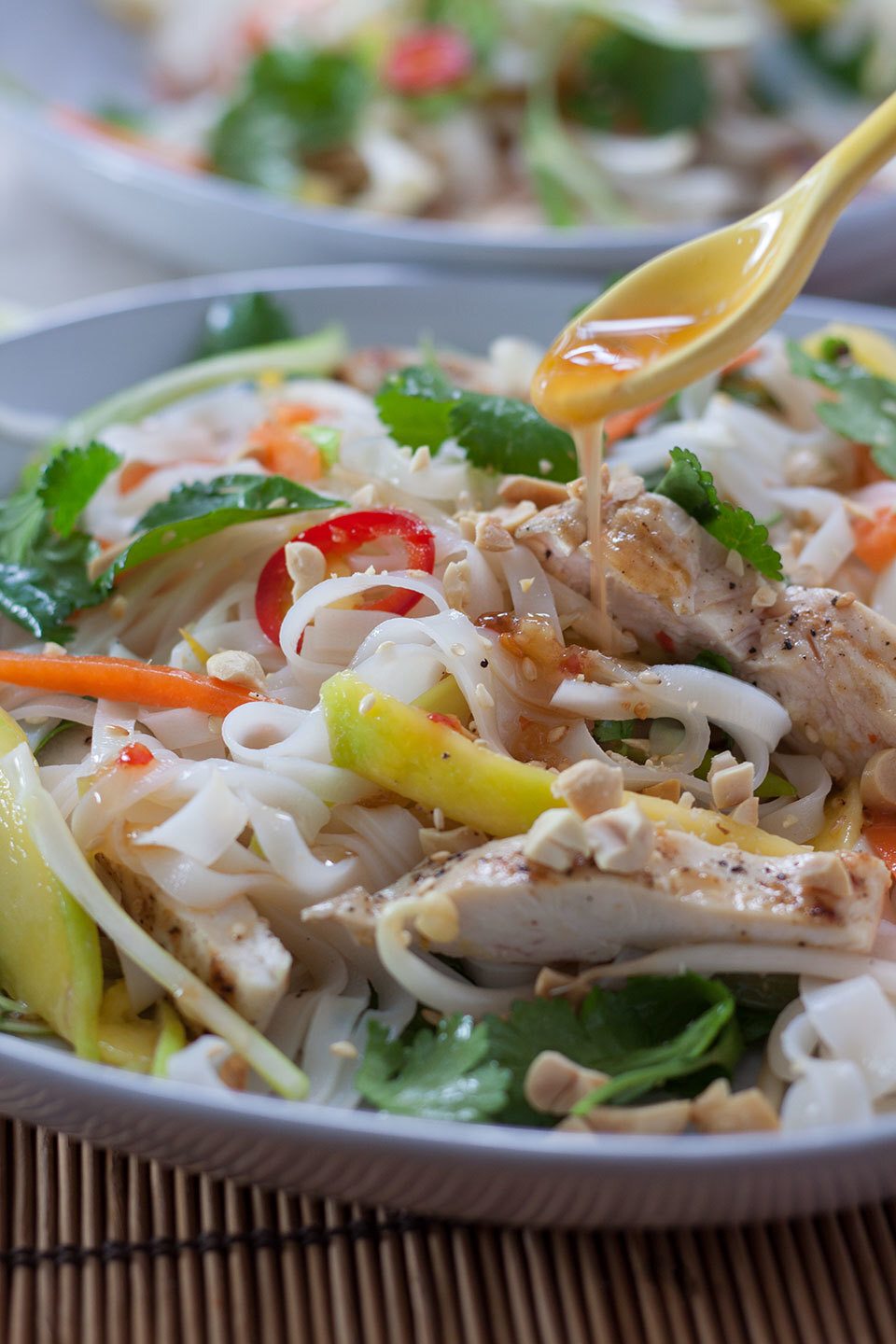 Chicken noodle salad with sweet chilli dressing