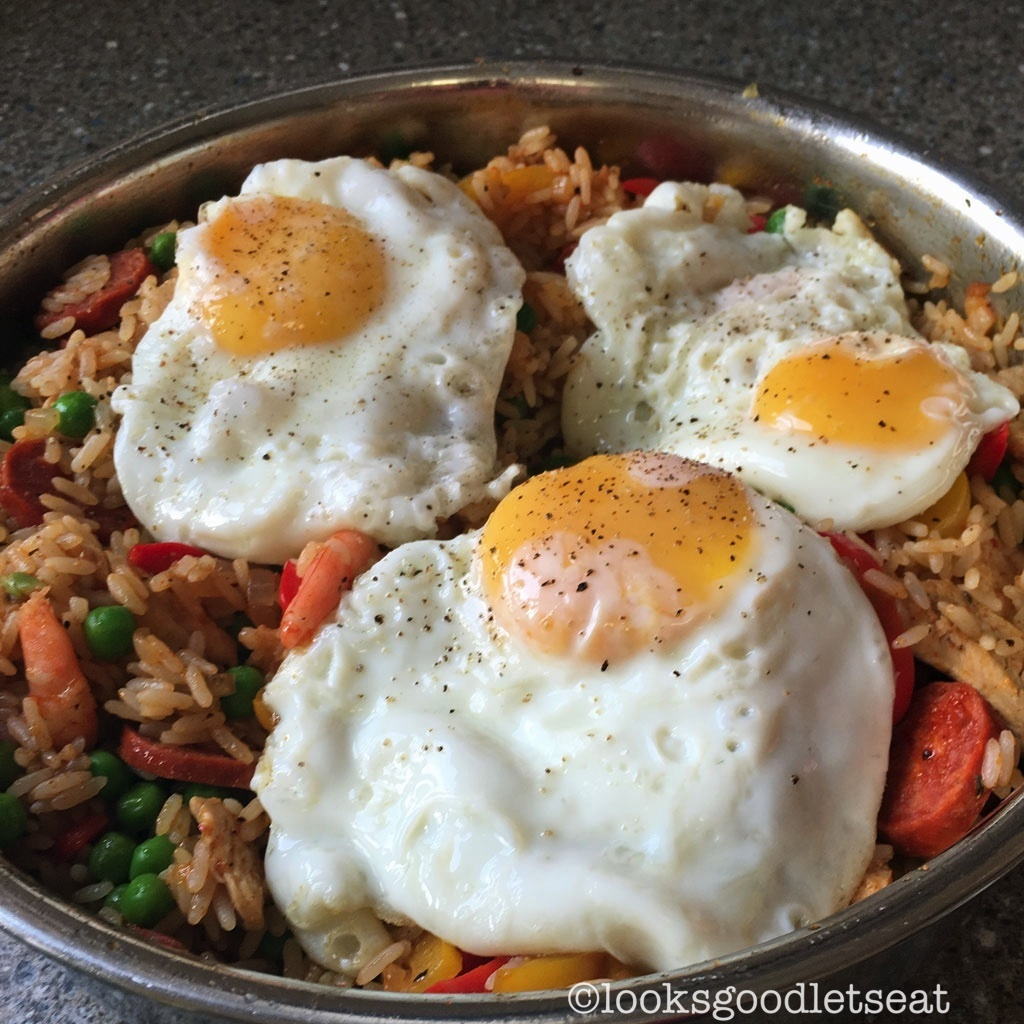Cajun, Prawn, Chicken & Chorizo Rice with Fried Eggs
