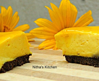 Eggless | No Bake Mango Cheese Cake