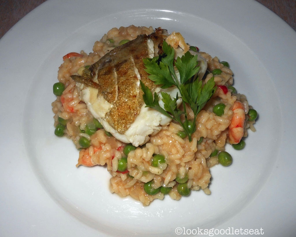 Pan Fried Cod with Prawn and Pea Risotto