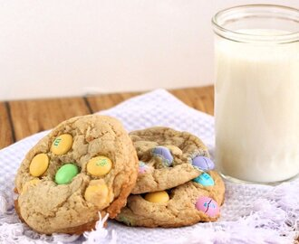 Big, Soft {Easter} M&M Cookies...with a secret ingredient