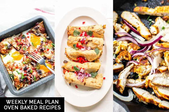 Weekly meal plan: oven baked recipes