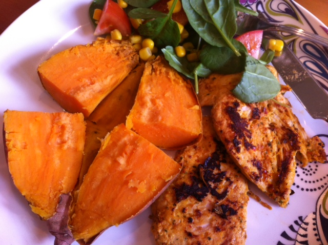 Lime, garlic and chilli chicken with baked sweet potato