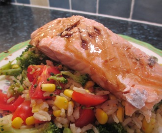 Soy and Honey Glazed Salmon with Chilli Rice and Vegetables