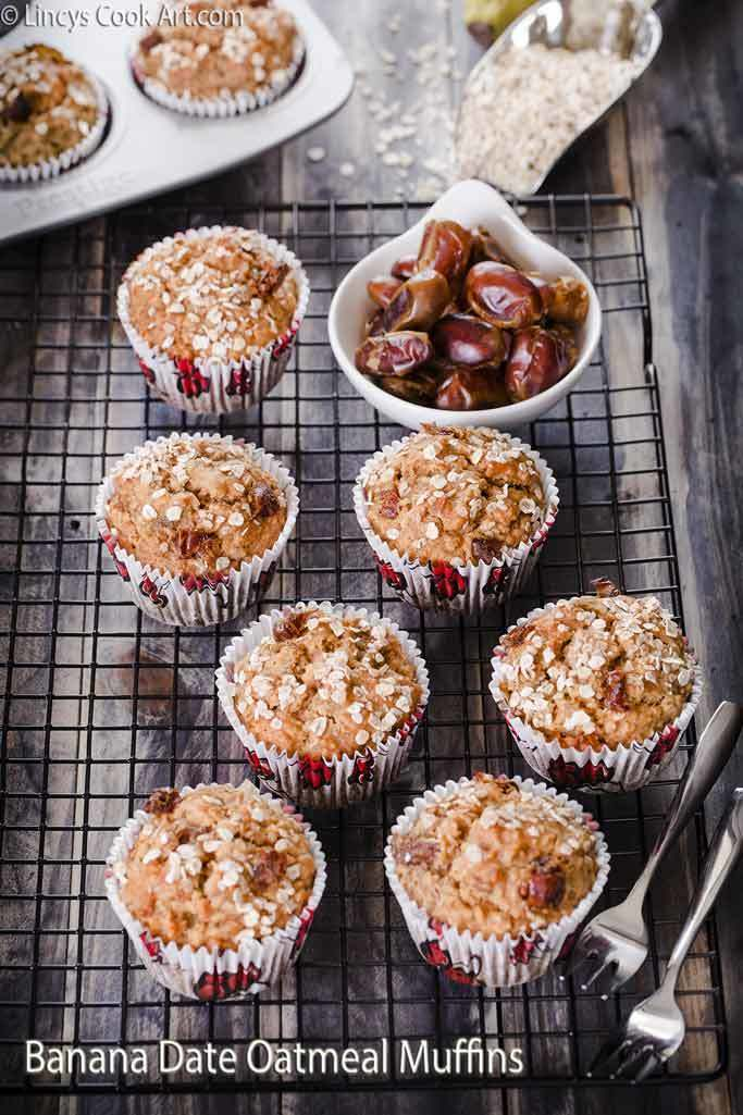 Banana Dates Oatmeal Muffins