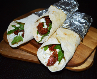 Homemade Wraps with Sheep's Cheese-, Rucola-, and Sundried Tomato-Filling
