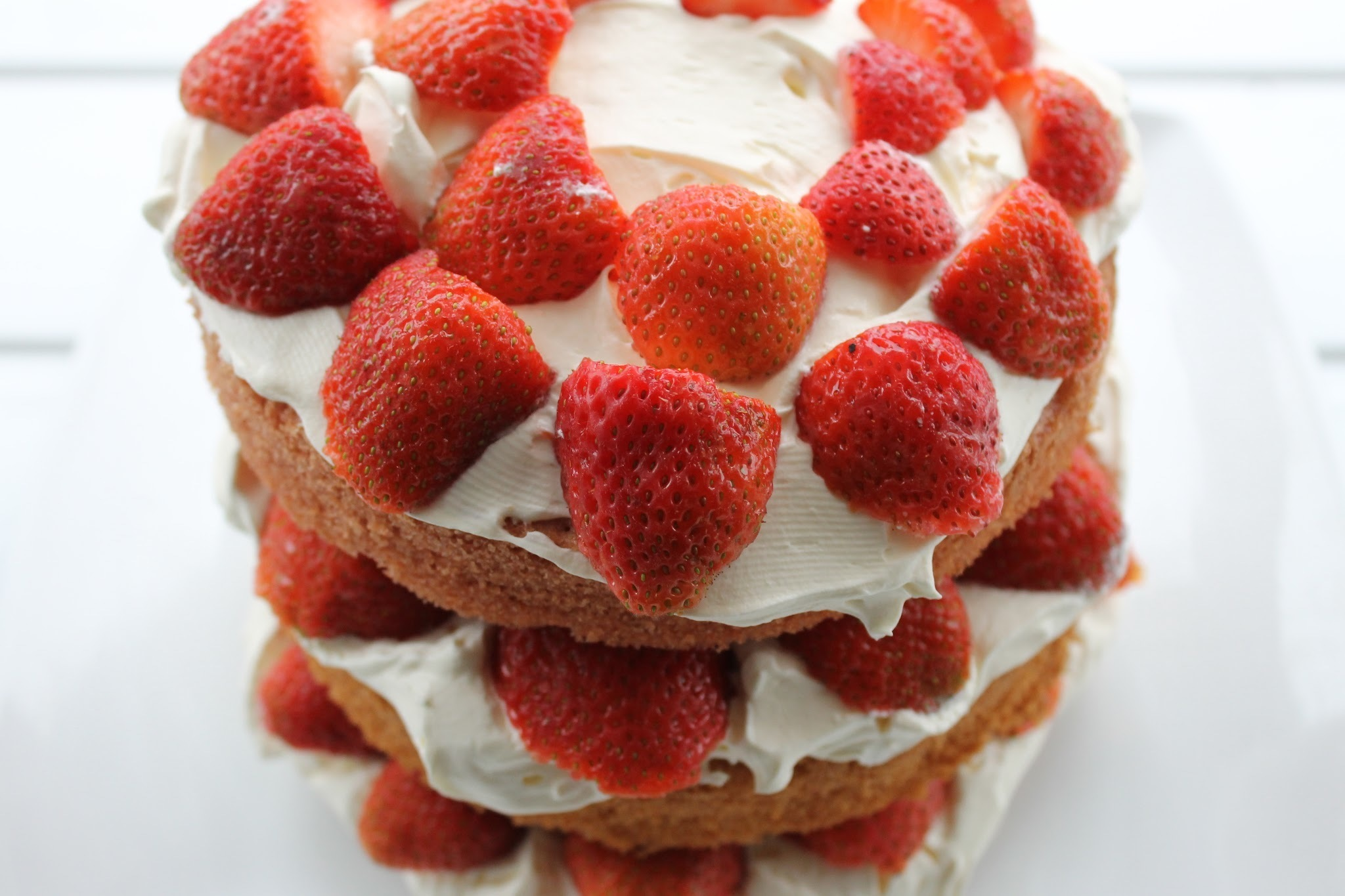 Triple layer Victoria Sponge Strawberry and Cream cake