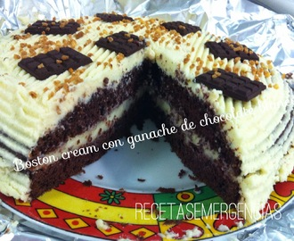 "PASTEL ""BOSTON CREAM"" CON GANACHE DE CHOCOLATE BLANCO"