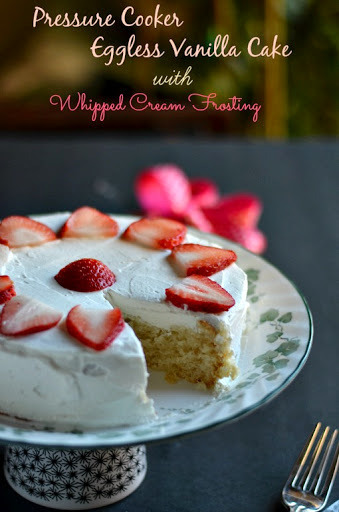 Eggless Vanilla Cake - Pressure Cooker Method