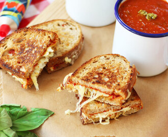 Tomato Basil Soup with Grilled Cheese Sandwiches