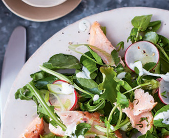Baked Salmon Salad with Creamy Mint Dressing