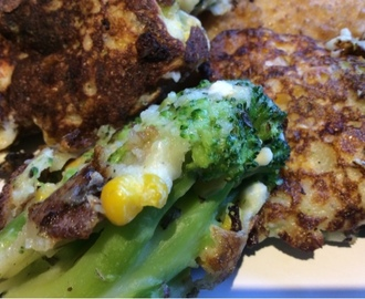 Broccoli, Sweetcorn And Feta Cheese Fritters / Frittata