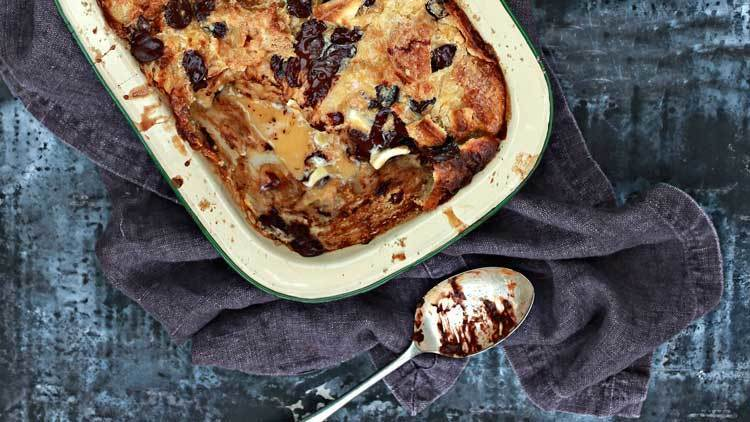 Black and White Croissant Bread Pudding Recipe